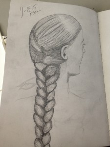 A hair braid sketch from a drawing book my wife got me.